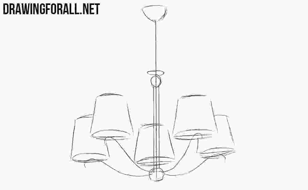 easy to draw chandelier how to draw a chandelier drawingforallnet