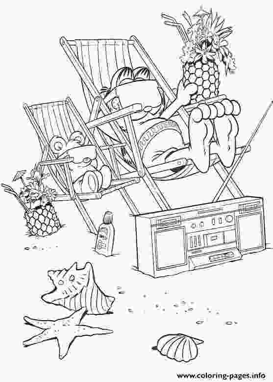 garfield at the beach garfield on the beach coloring pages printable