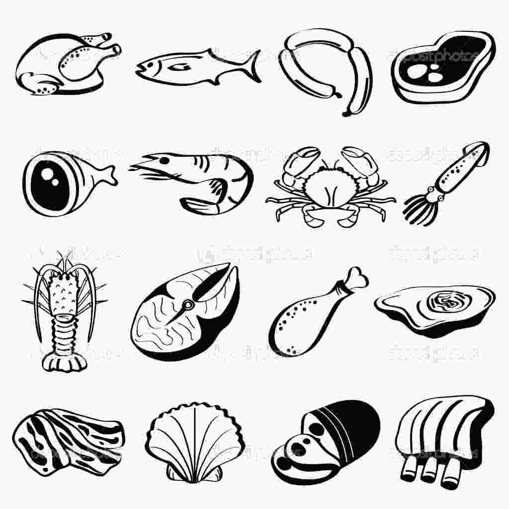meat coloring page 17 food group icons images protein food group cartoon