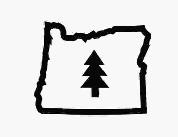 oregon state tree oregon outline with simple triangle tree inside vinyl sticker