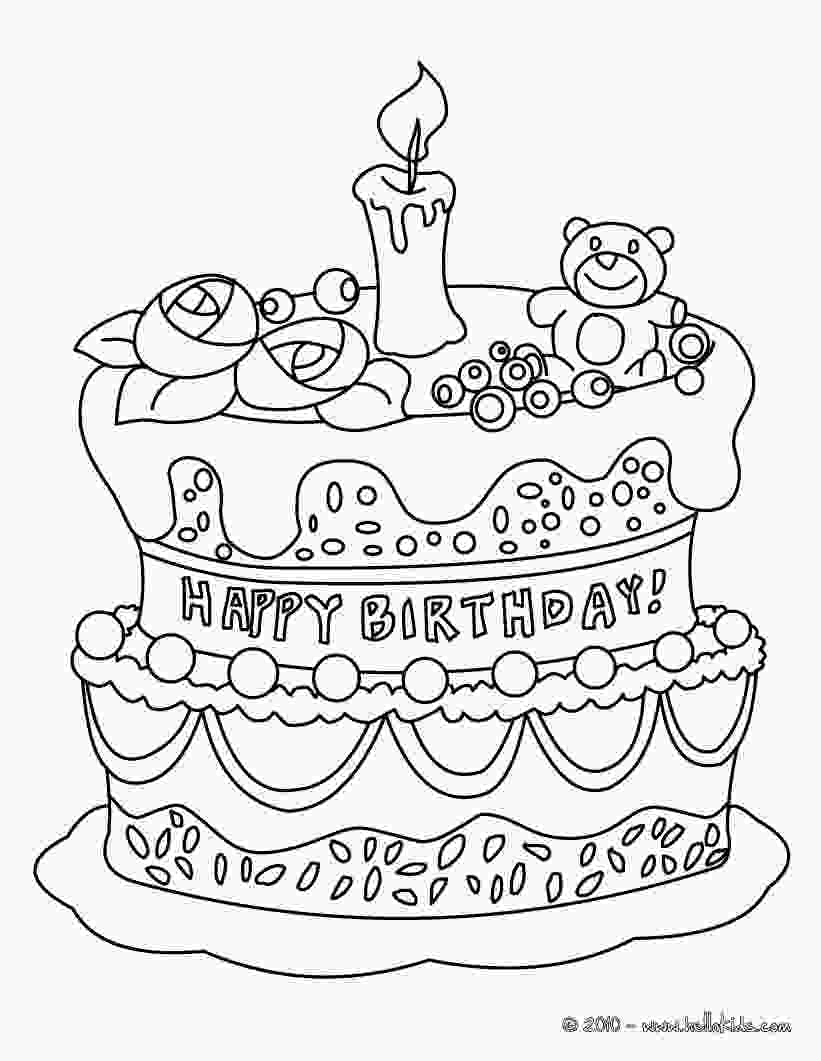 picture of cake to color birthday cake coloring pages hellokidscom