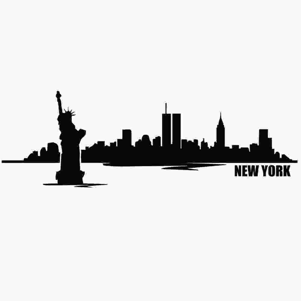 silhouette skyline 48 in wall decor art vinyl diy removable decal sticker new