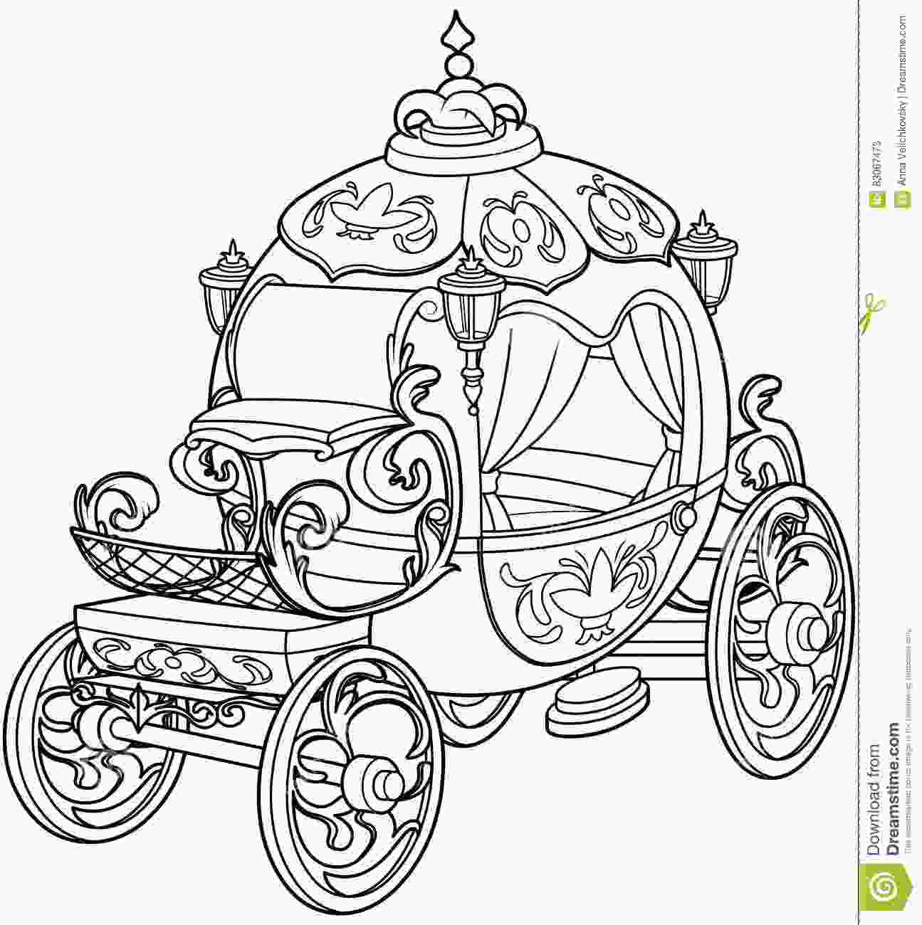 carriage coloring pages cinderella fairy tale pumpkin carriage stock vector