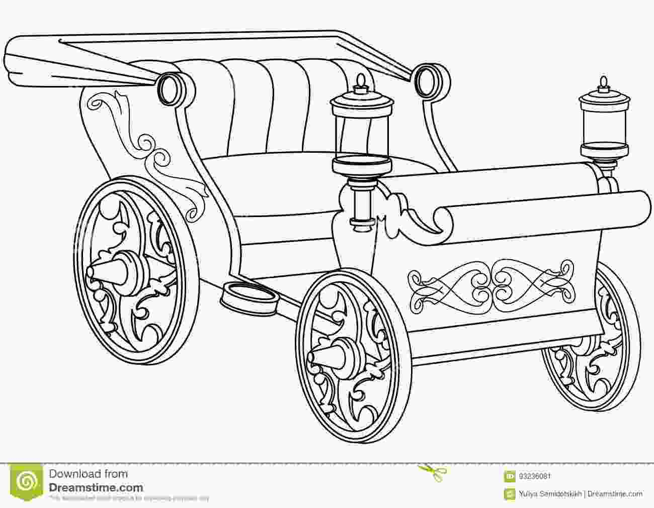 carriage coloring pages princess carriage coloring book page stock vector