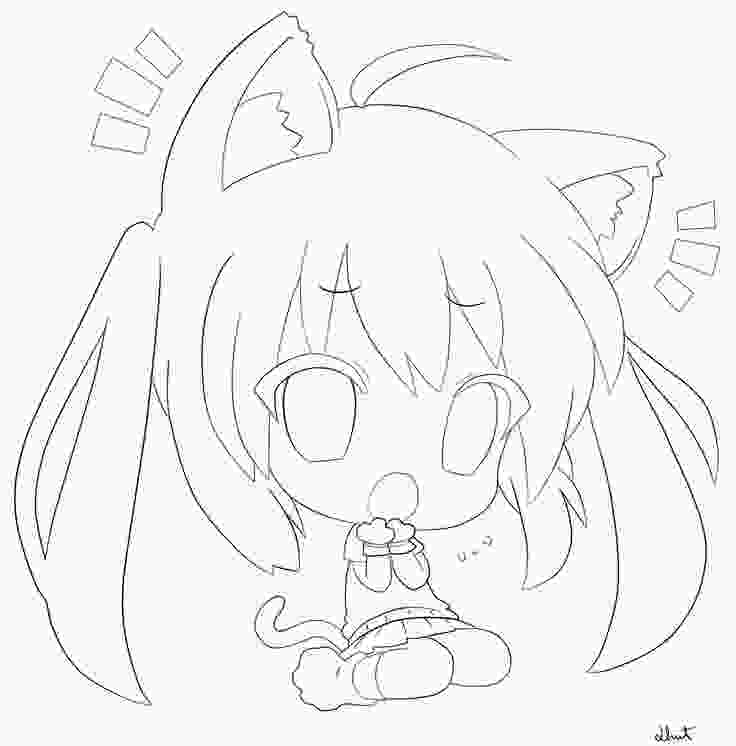 chibi cute cat coloring pages anime girl easy drawing at getdrawingscom free for