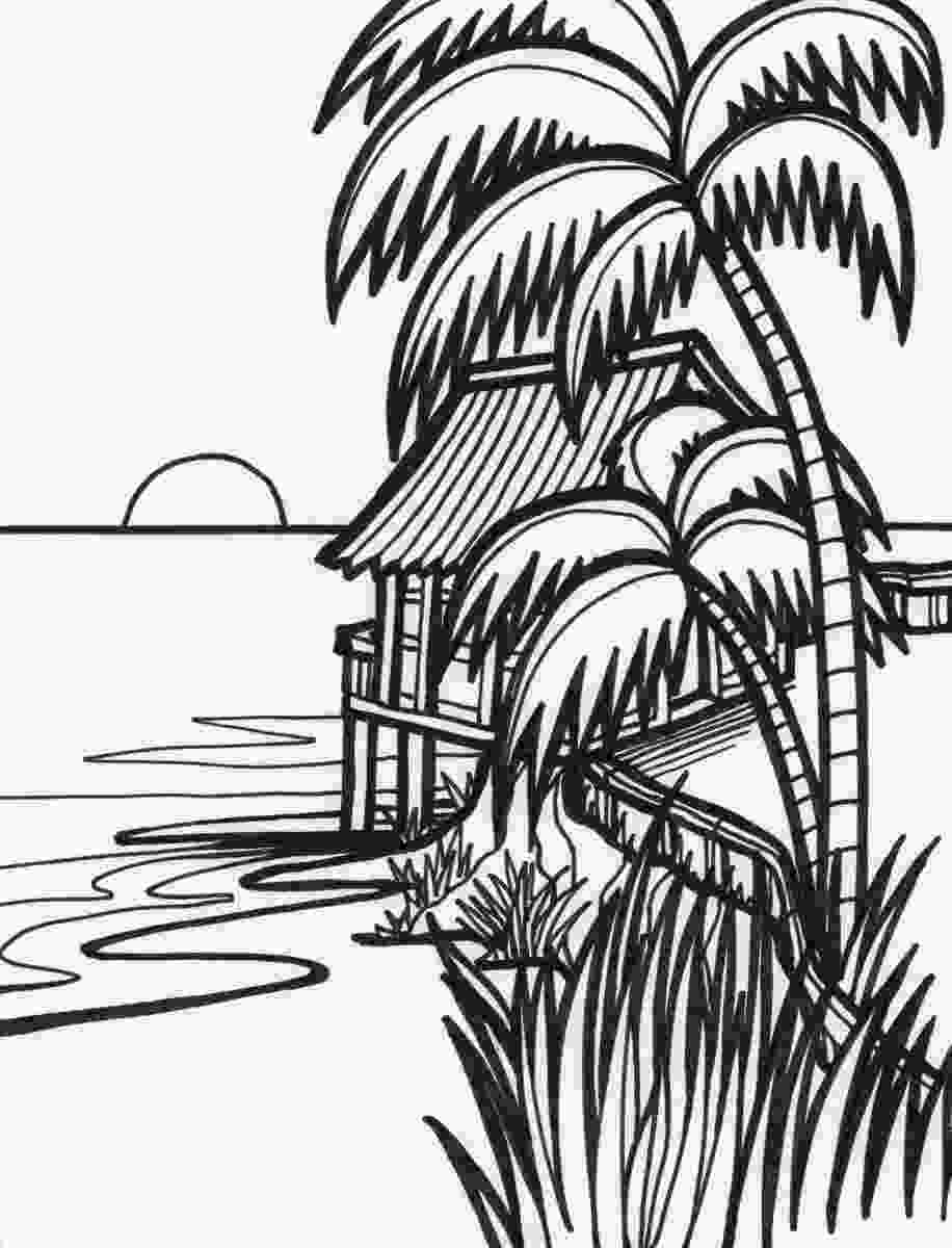 coloring image sunset beach sunset drawing at getdrawingscom free for