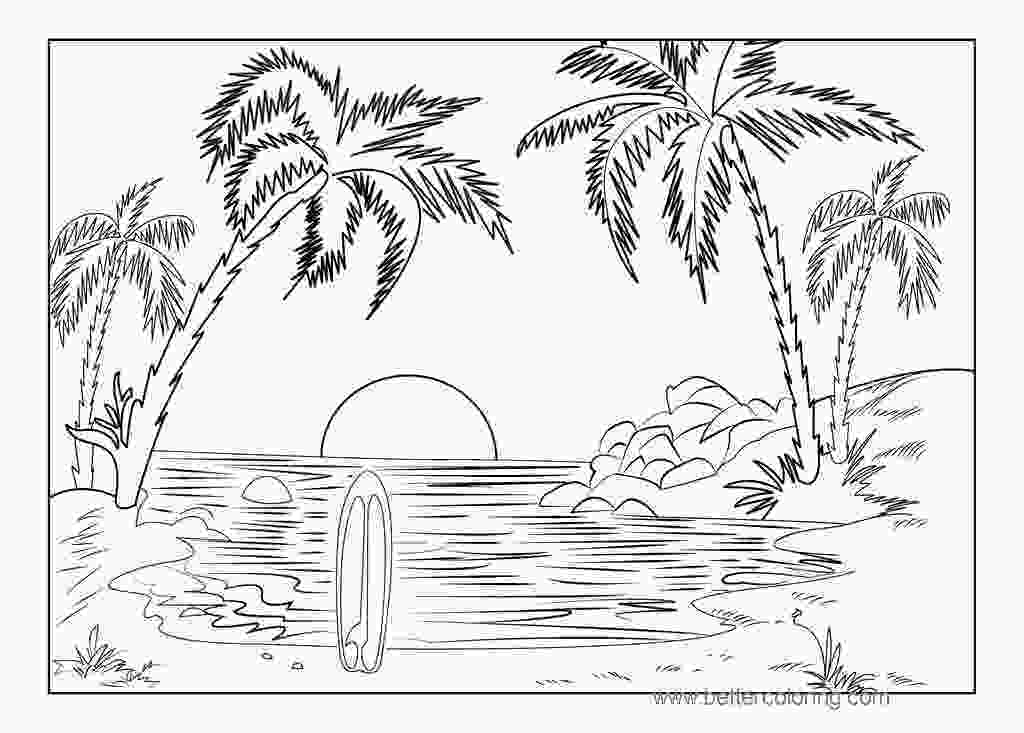 coloring image sunset summertime coloring pages tropical sunset free printable