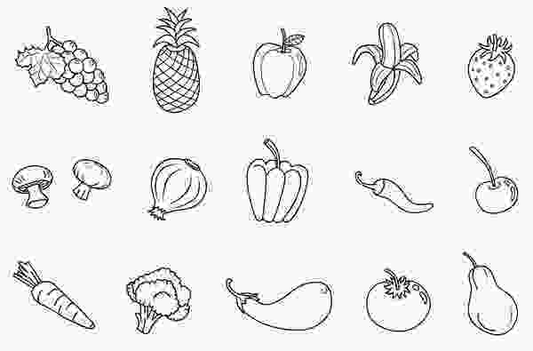 coloring images of vegetables fruit and veggies clip art black and white google search