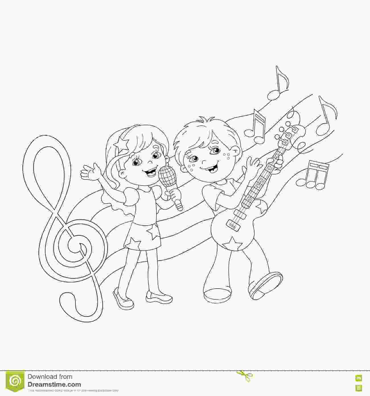 coloring music for kids coloring page outline of boy and girl singing a song