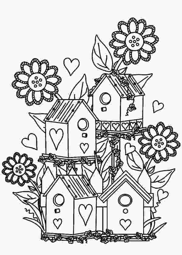 coloring page garden bird house bird house at flower garden coloring pages