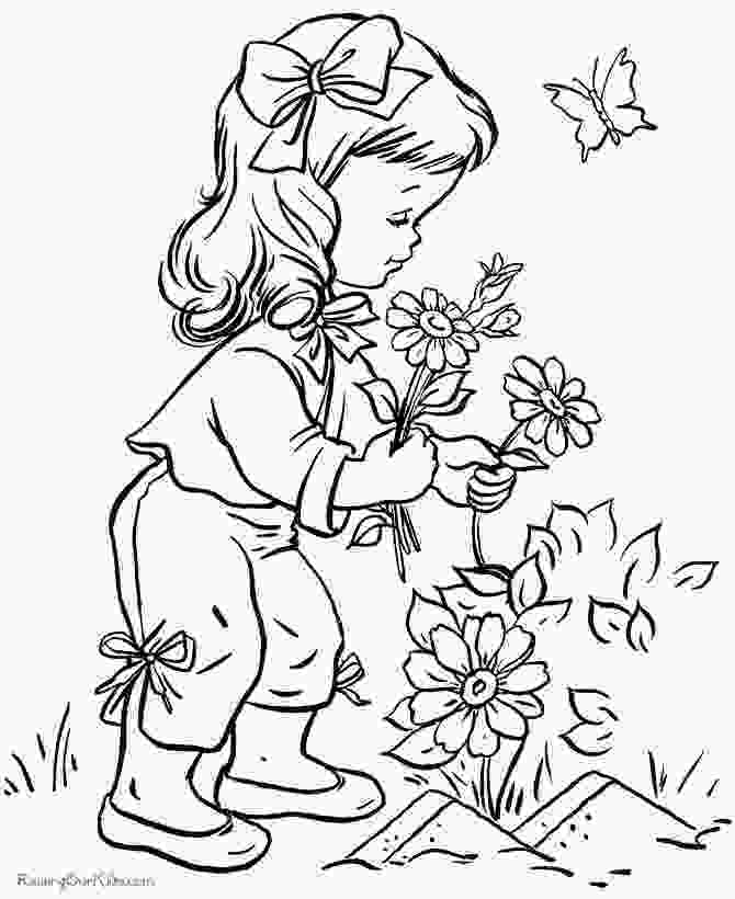 coloring page garden black and white drawing of garden coloring page children