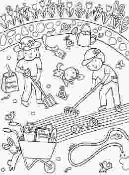 coloring page garden kids gardening coloring pages free colouring pictures to print