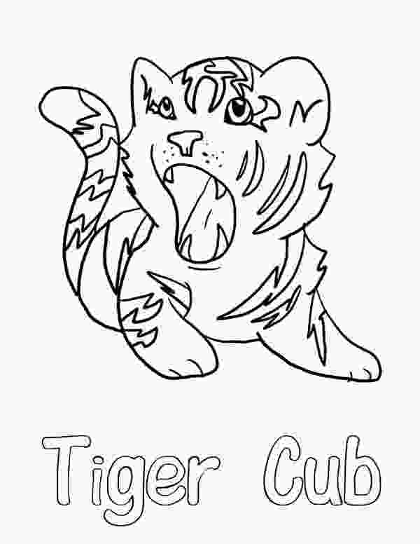 coloring pages tiger cubs a cute roaring of little tiger cub coloring page