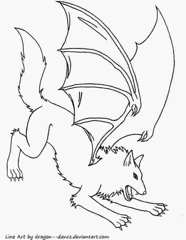 dragon wolf coloring pages simple line art dragon