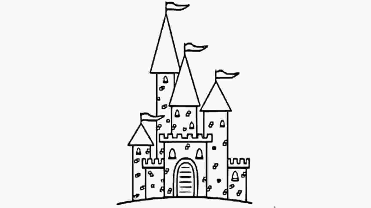drawing castle how to draw castle pencil drawing for kids step by step
