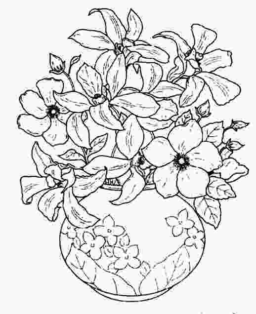 flowers in vase coloring pages beautiful flowers in a beautiful flowering vase coloring