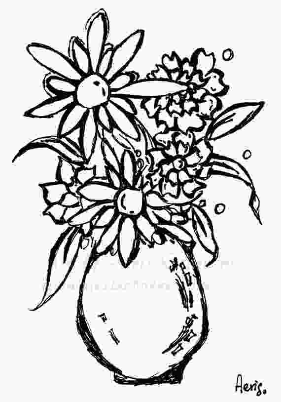 flowers in vase coloring pages daisy flowers vase printable adult coloring page floral