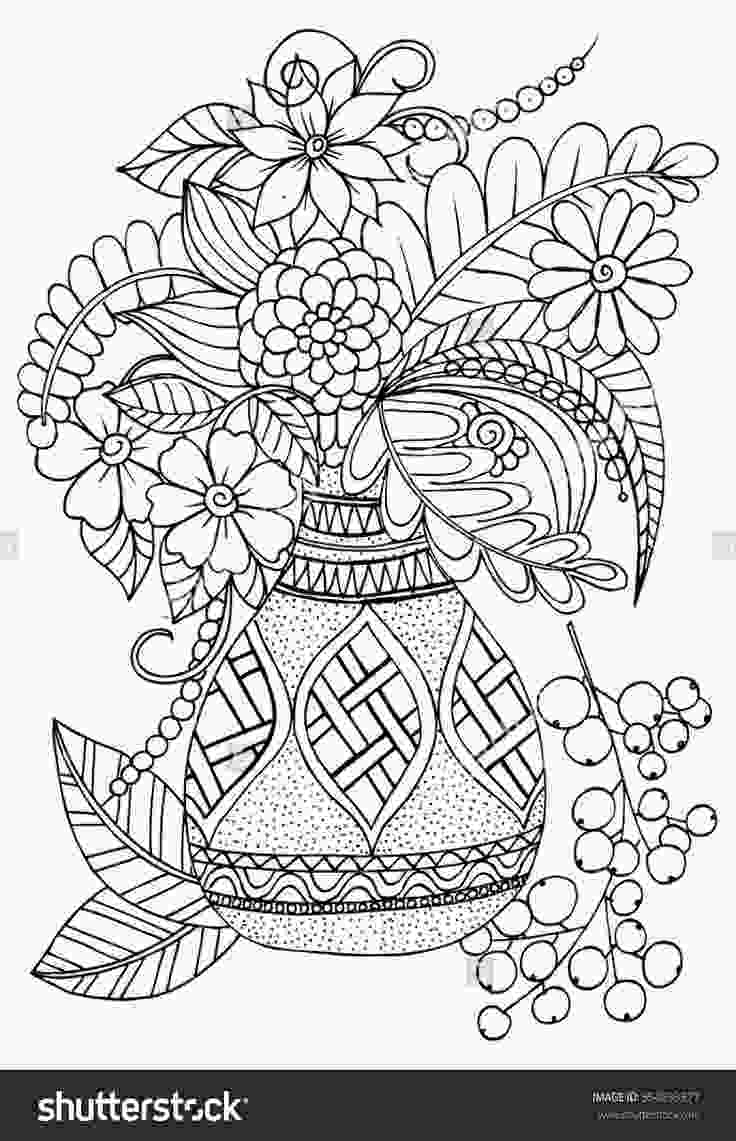 flowers in vase coloring pages floral vase colouring page adult colouringflowers