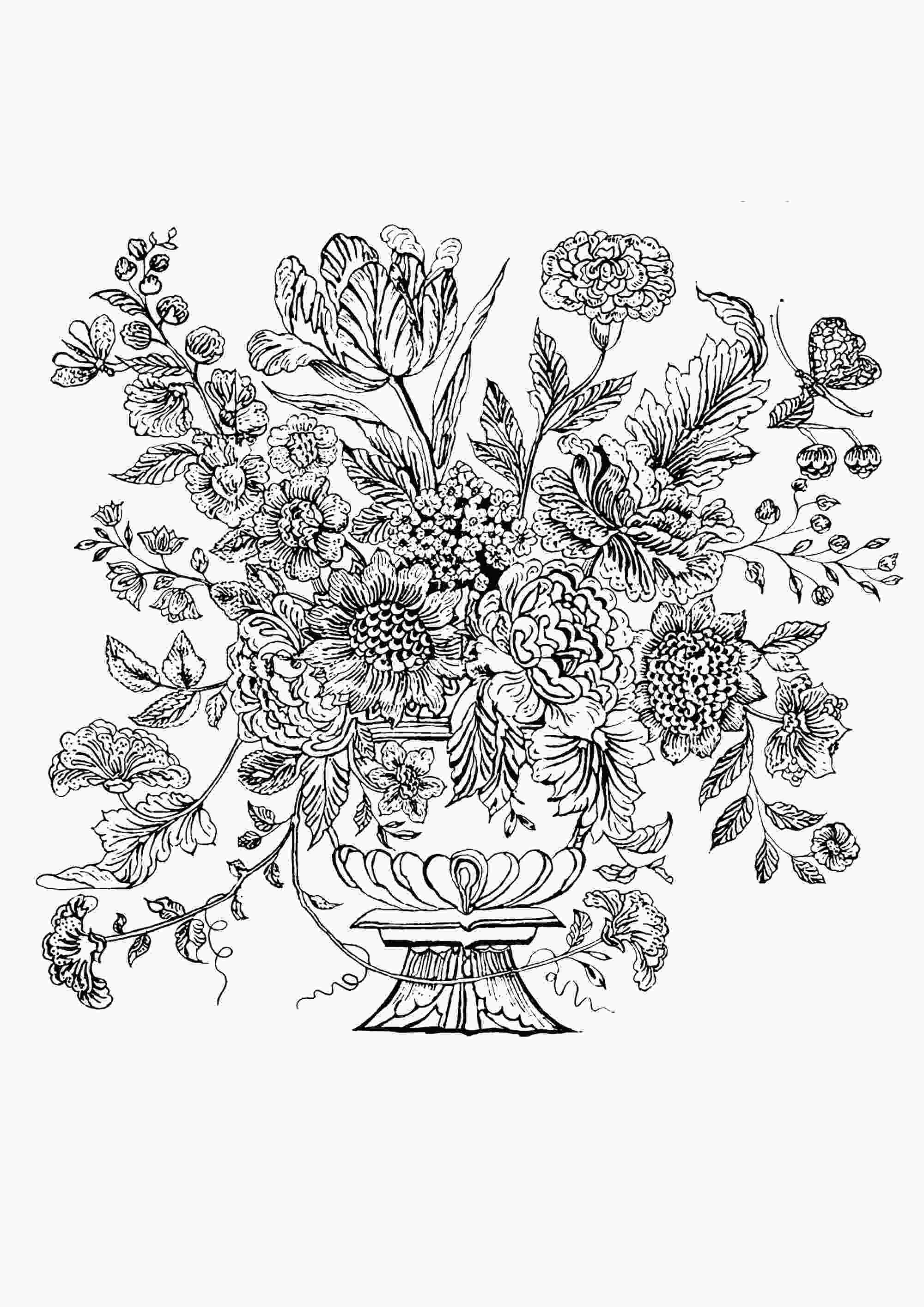 flowers in vase coloring pages flower vase 1740 mural tile flowers adult coloring pages