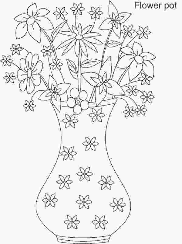 flowers in vase coloring pages flower vase full of beautiful flower coloring page