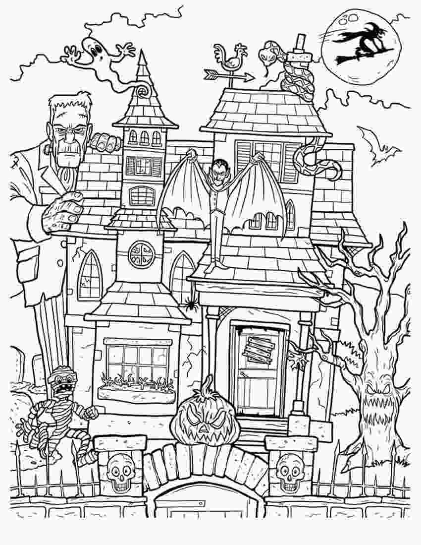 haunted houses coloring pages adults haunted house coloring pages free printable