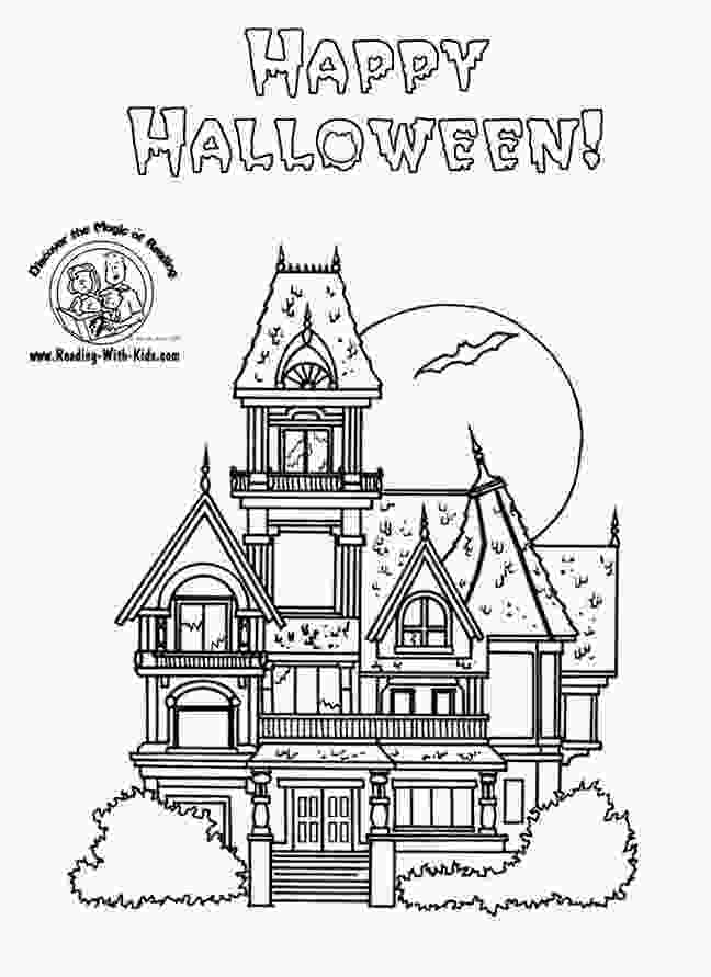 haunted houses coloring pages halloween