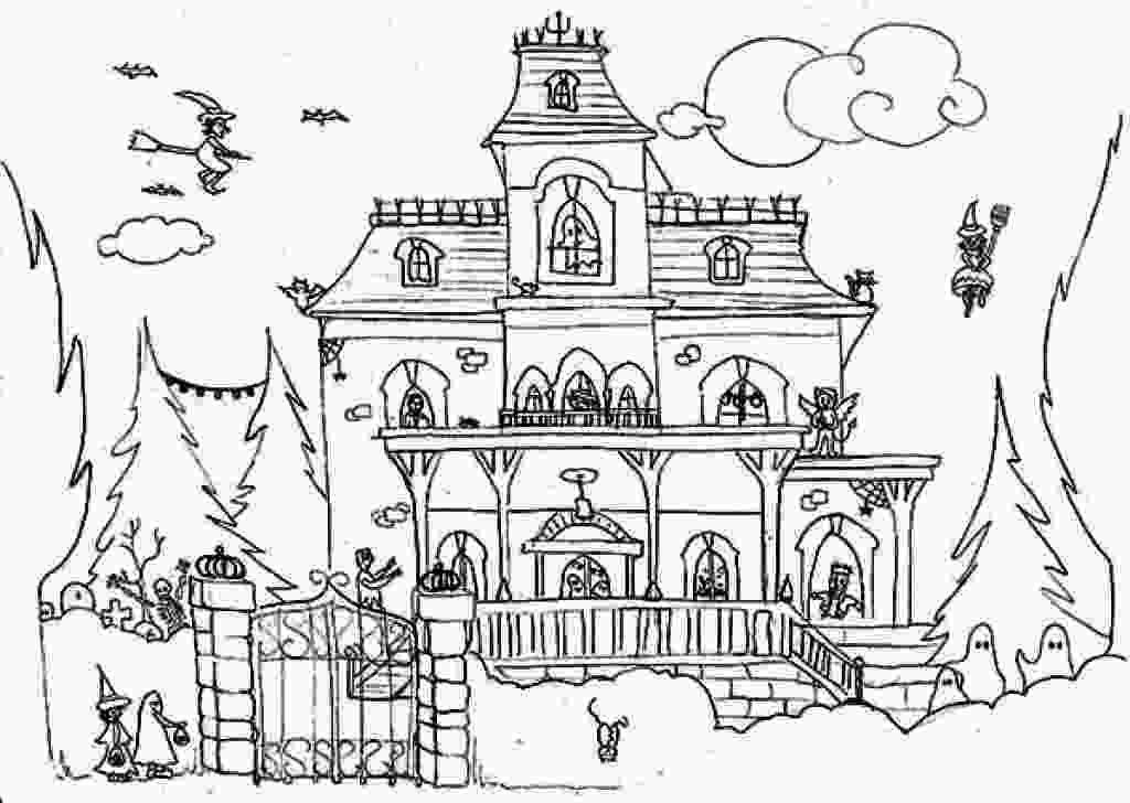 haunted houses coloring pages haunted house drawing at getdrawingscom free for