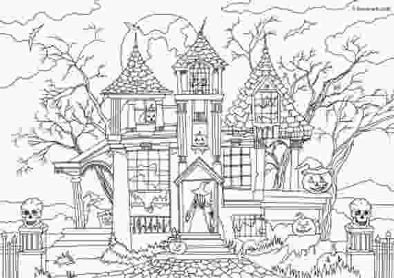 haunted houses coloring pages haunted house printable adult coloring page from