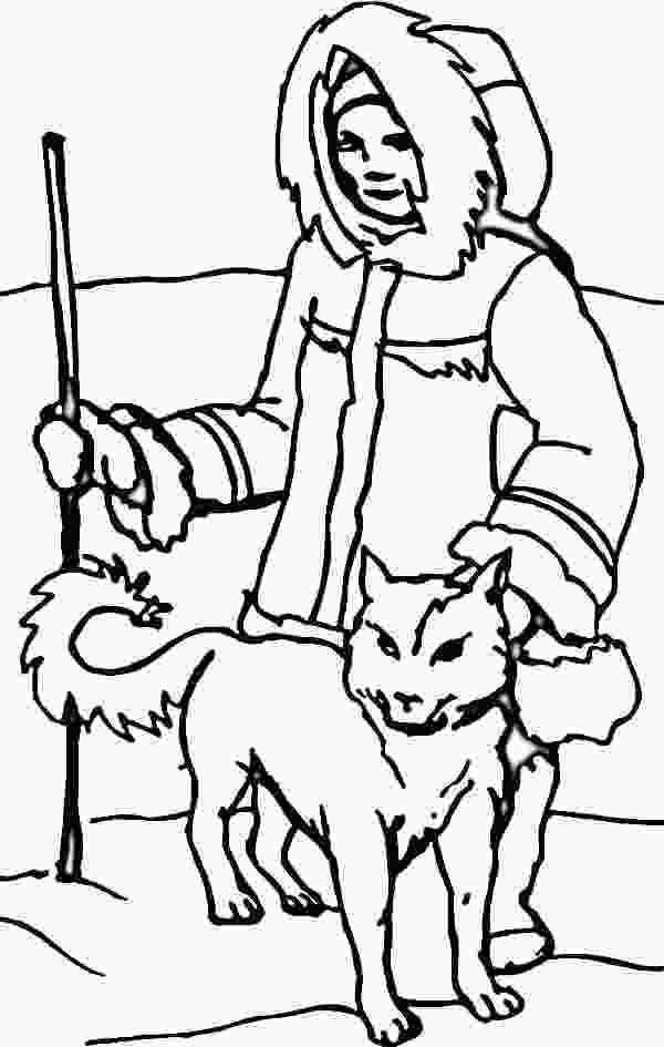 husky coloring pictures an eskimo with husky in the north coloring page school