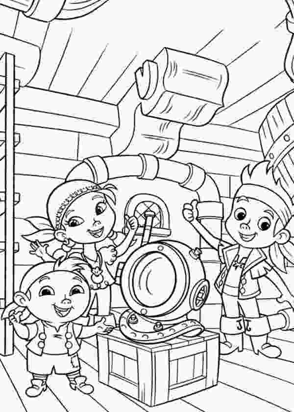 jake neverland pirates coloring pages jake izzy and chubby found an old dive helmet coloring