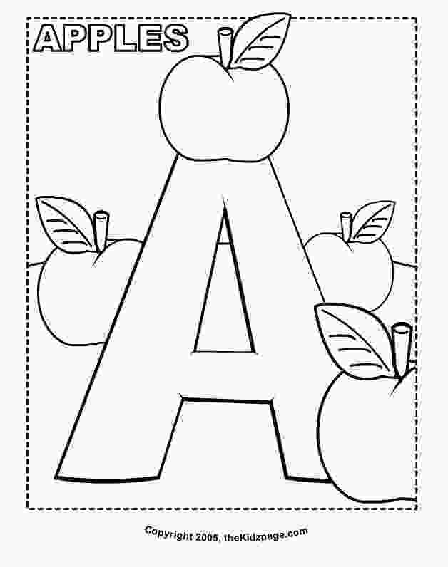 kindergarten alphabet coloring pages a is for apples free coloring pages for kids printable