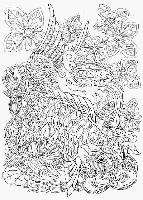 koi fish coloring coloring pages for adults koi carp wealth symbol adult
