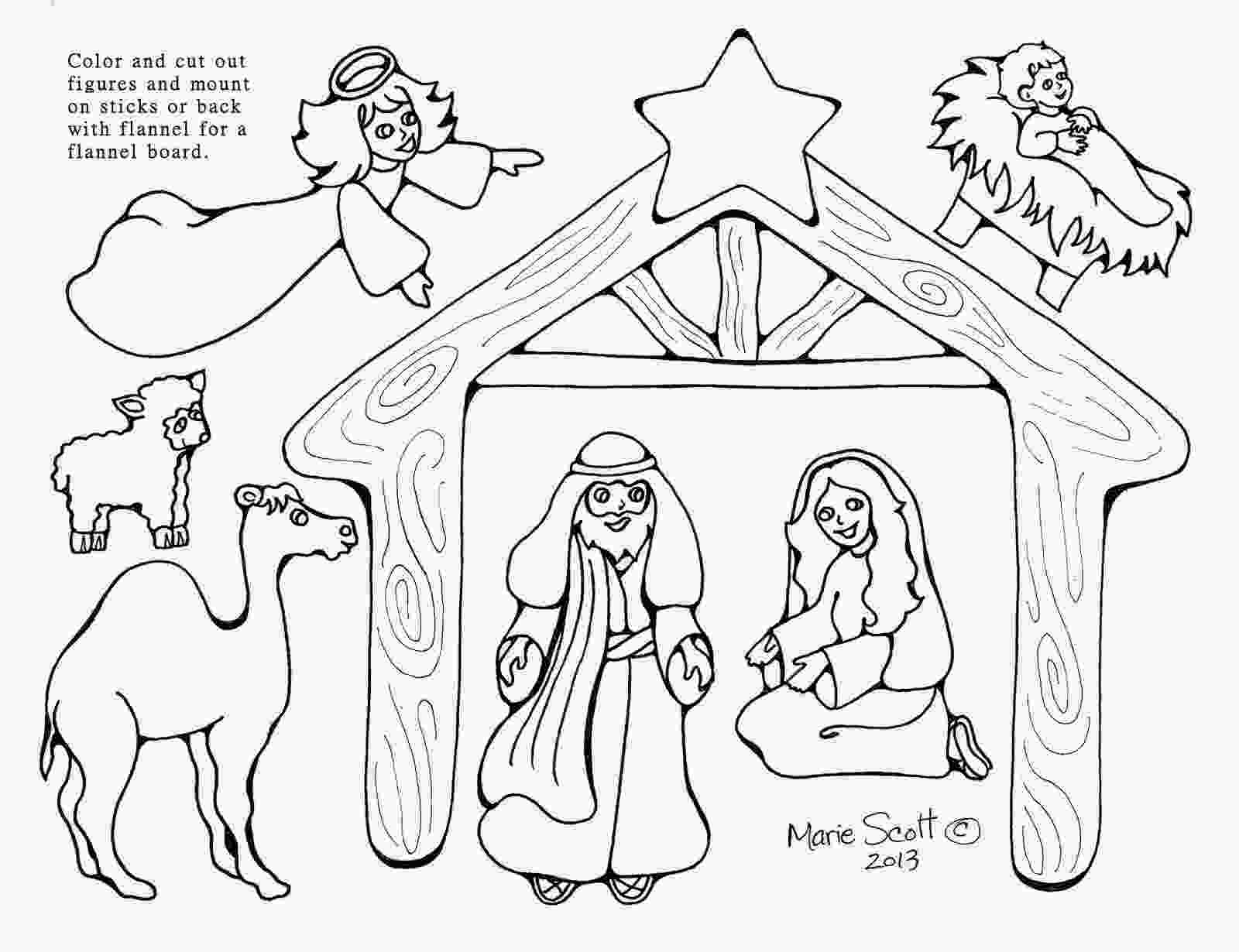 manger scene coloring page serendipity hollow nativity figures