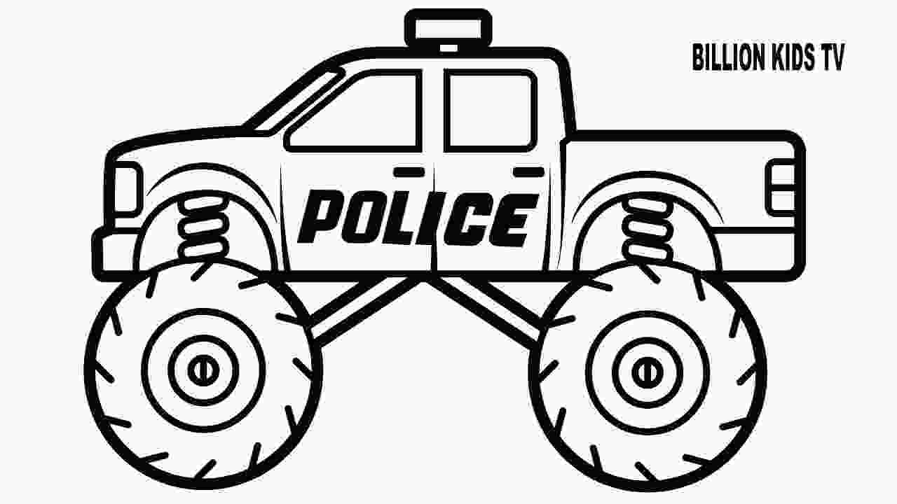 monster truck coloring pictures police monster truck coloring book for kids youtube