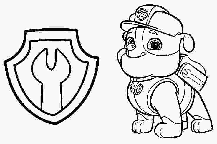 paw patrol coloring rubble coloring page paw patrol rubble and badge 6