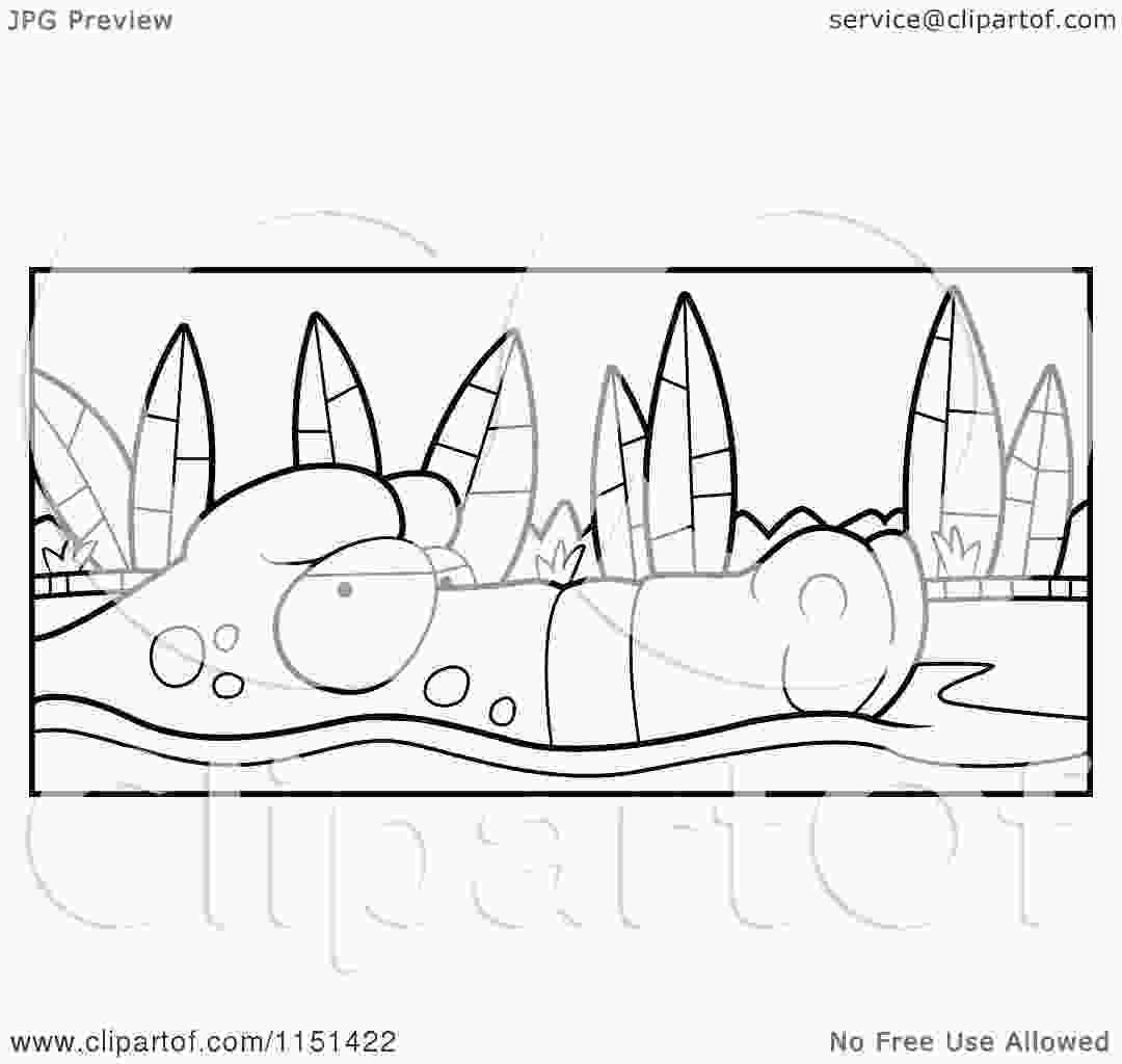 swamp coloring pages cartoon clipart of a black and white swamp gator floating