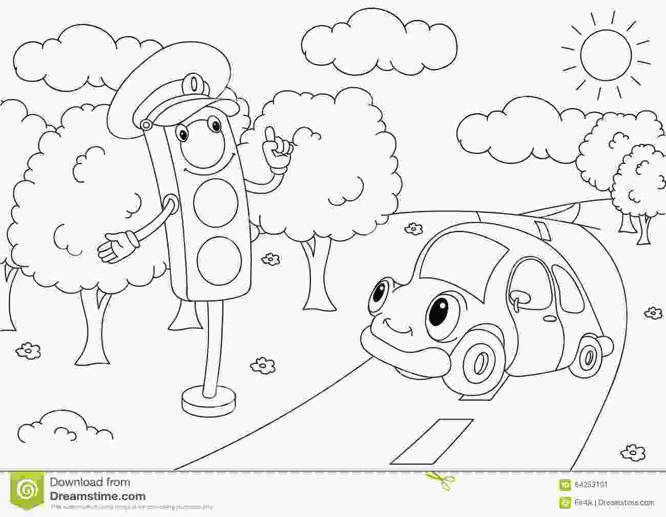 traffic light coloring page cartoon car with traffic lights stock vector