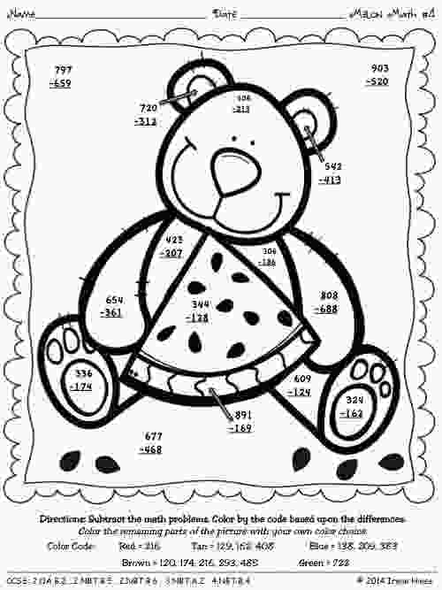 2nd grade coloring worksheets 3digit addition with regrouping coloring math
