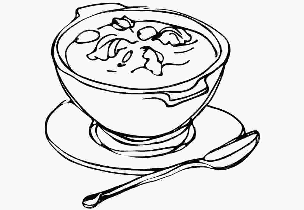 bowl drawing bowl of soup with herbs and spoon lying next stock
