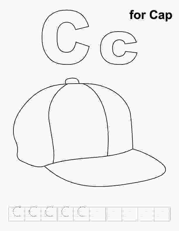 c for coloring c for cap coloring page with handwriting practice