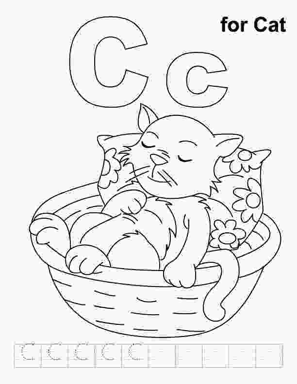 c for coloring c for cat coloring page with handwriting practice