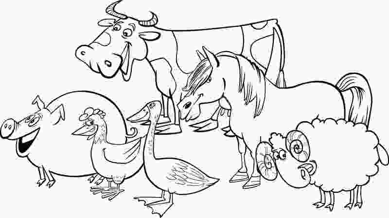 cartoon farm coloring pages group of cartoon farm animals for coloring stock vector