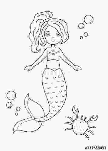 cartoon mermaids to draw quotcoloring page for kids cute cartoon mermaid with a crab