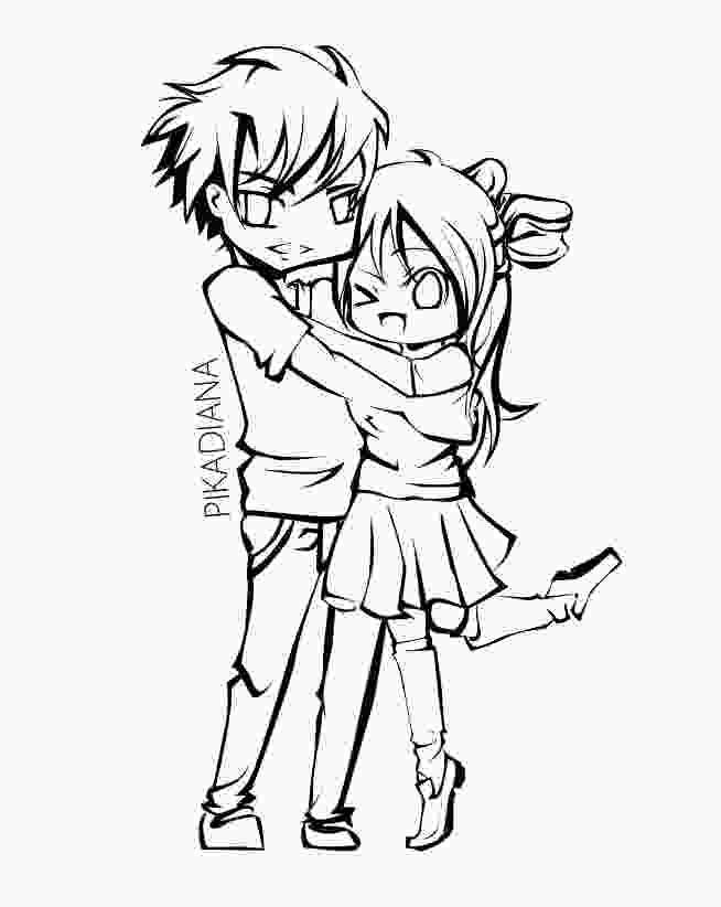 chibi anime couple coloring pages anime couple lineart by dianahiwatari on deviantart