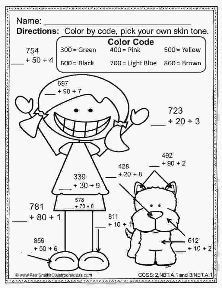 coloring for grade 2 color by numbers break apart strategy for place value