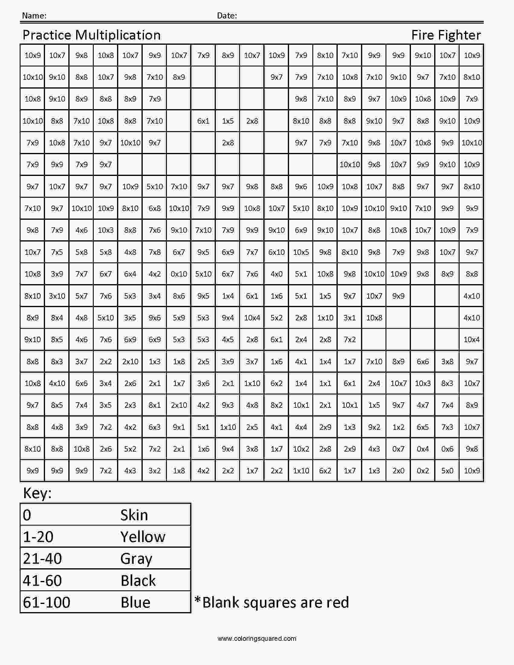 coloring pages 4th grade 4g1multiplicationfirefighter4thgrademathjpg