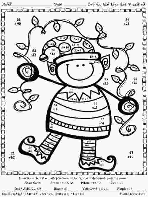 coloring pages 4th grade christmas math activities christmas elf equations