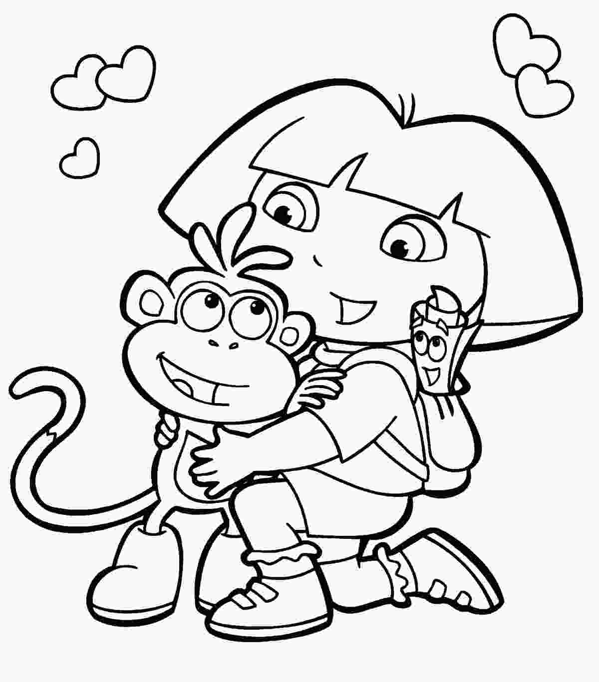 coloring pages dora coloring book pages free nickjrs dora the explorer
