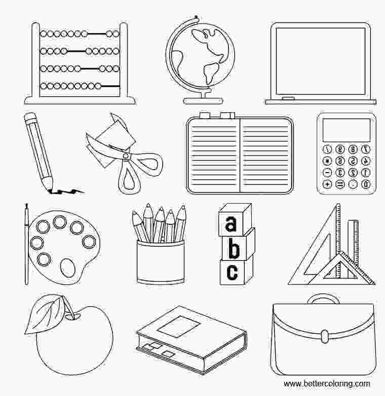 coloring pages of school supplies school supplies coloring pages and computer free