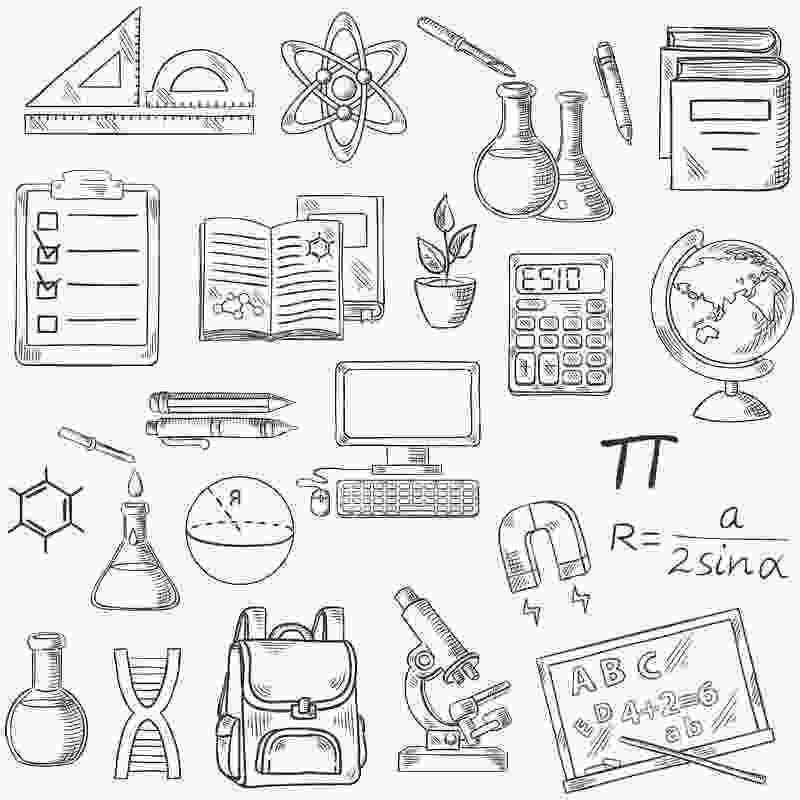 coloring pages of school supplies school supplies coloring pages symbols free printable